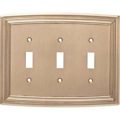 Emery Decorative Triple Light Switch Cover, Champagne Bronze