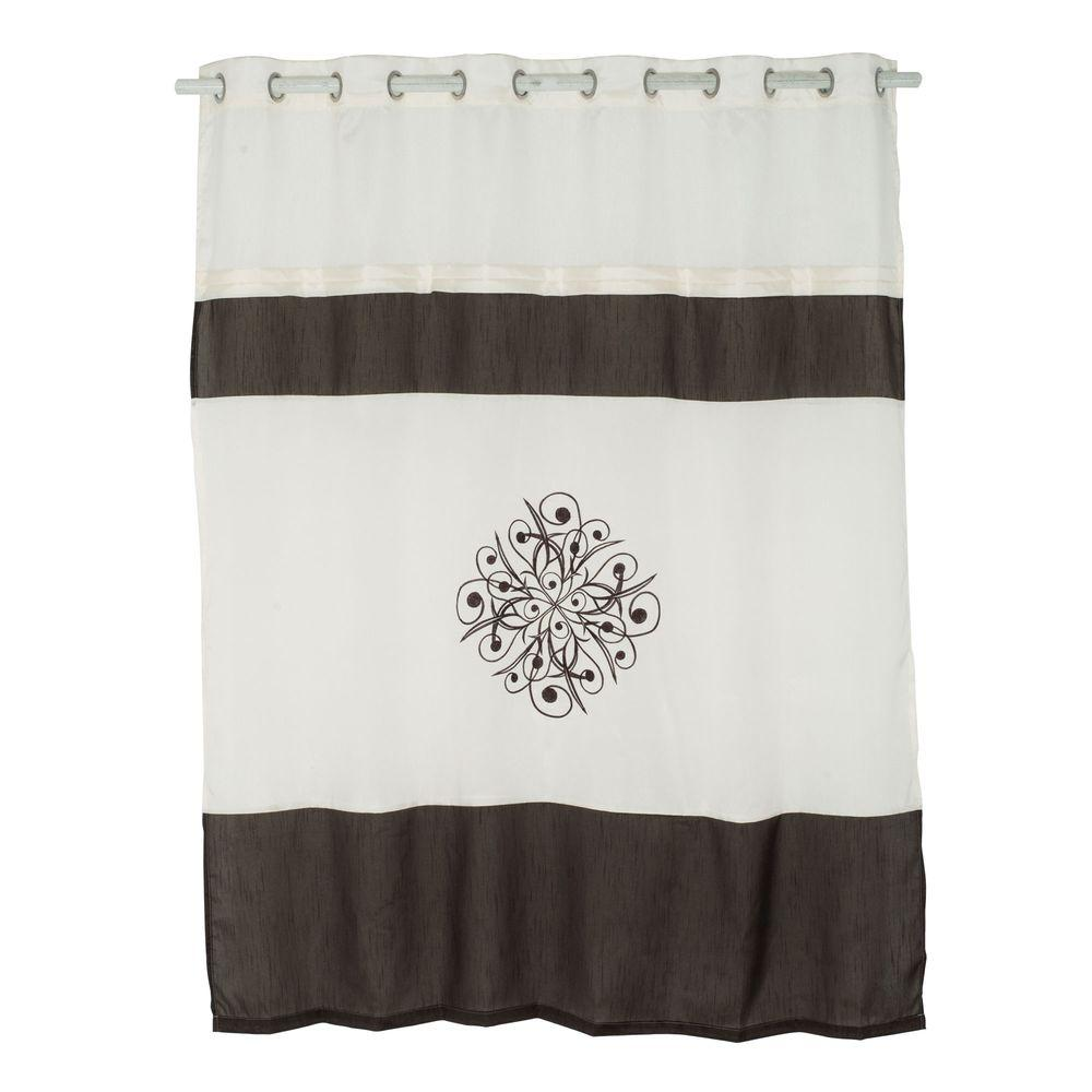 Embroidered Shower Curtain With Grommets In Brown