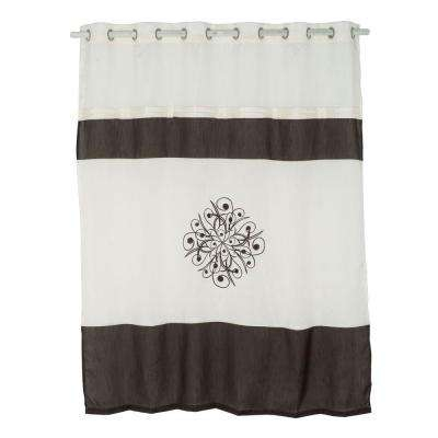 72 in. Embroidered Shower Curtain with Grommets in Brown