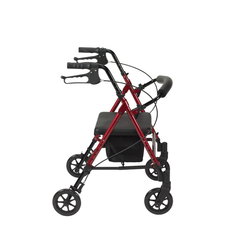 Outstanding Drive Adjustable Height 4 Wheel Rollator In Red Bralicious Painted Fabric Chair Ideas Braliciousco
