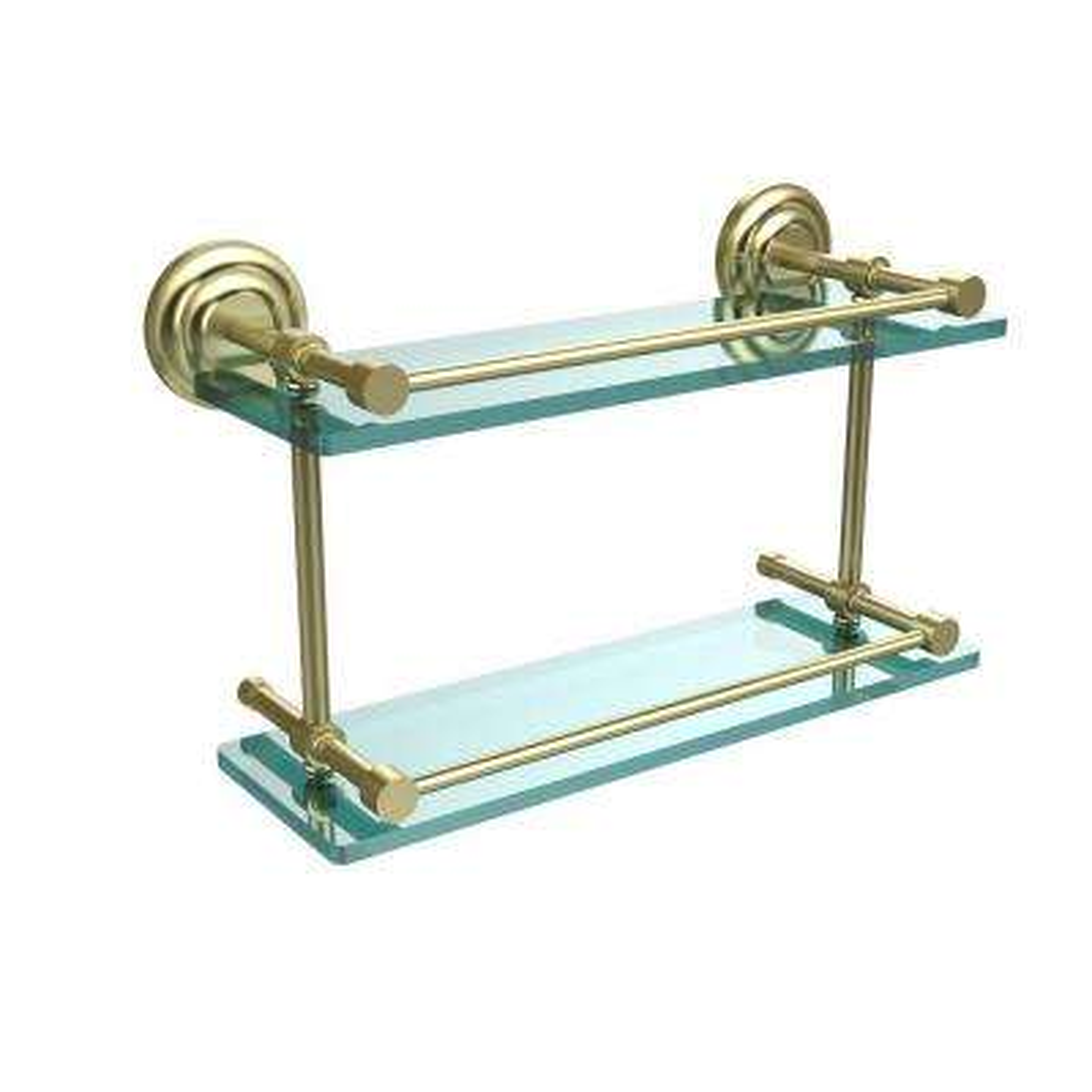 Que New 16 in. L x 8 in. H x 5 in. W 2-Tier Clear Glass Bathroom Shelf with Gallery Rail in Satin Brass