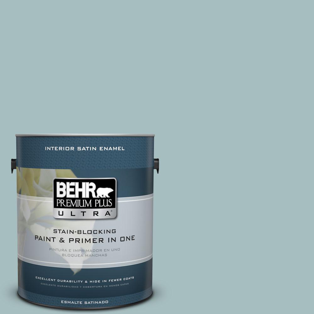 1 gal. #PPU13-13 Oslo Blue Satin Enamel Interior Paint and Primer