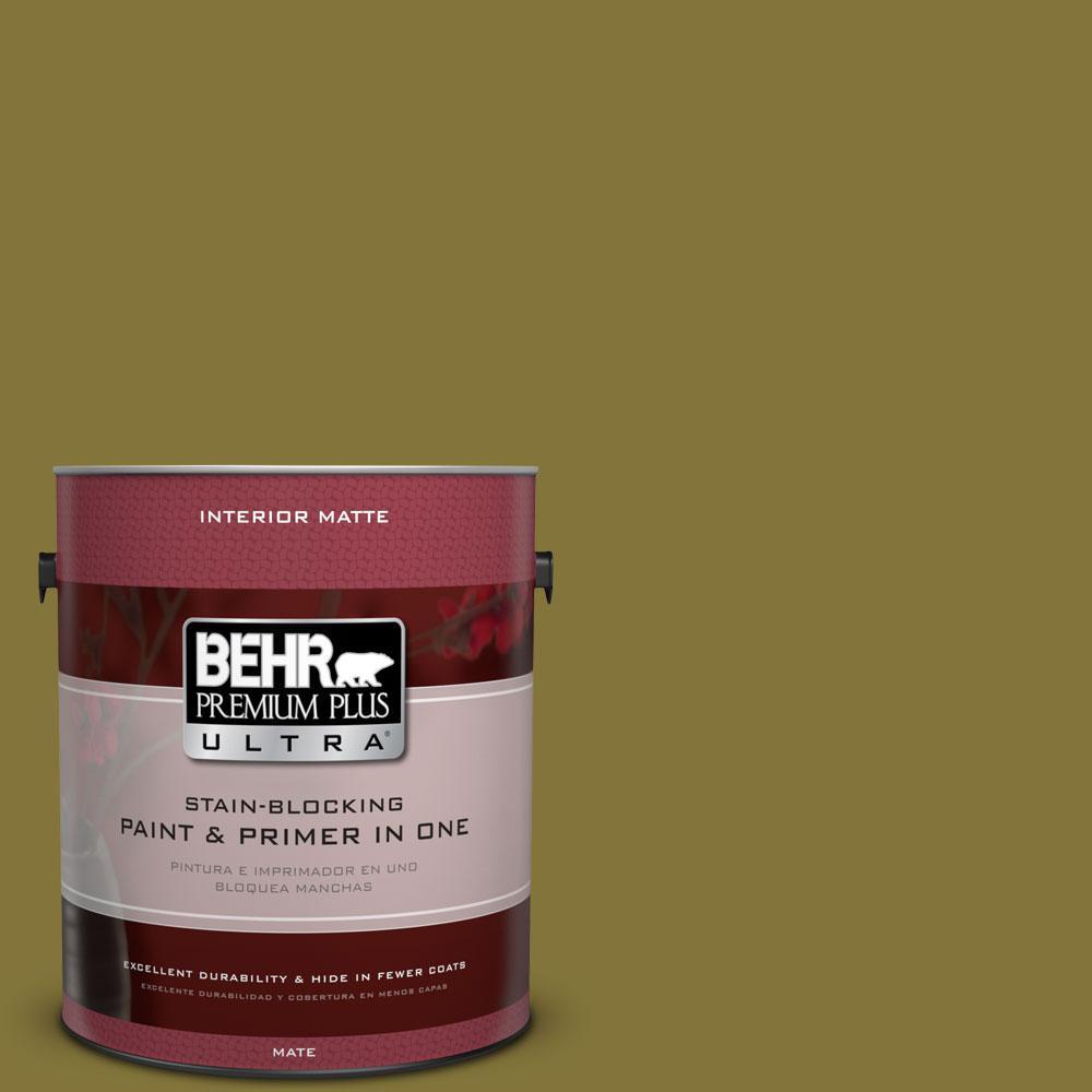 BEHR Premium Plus Ultra 1 gal. #390D-7 Marsh Grass Flat/Matte Interior Paint