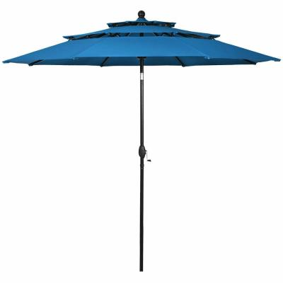 10 ft. 3-Tier Double Vented Aluminum Sunshade Shelter Market Patio Umbrella in Blue without Base