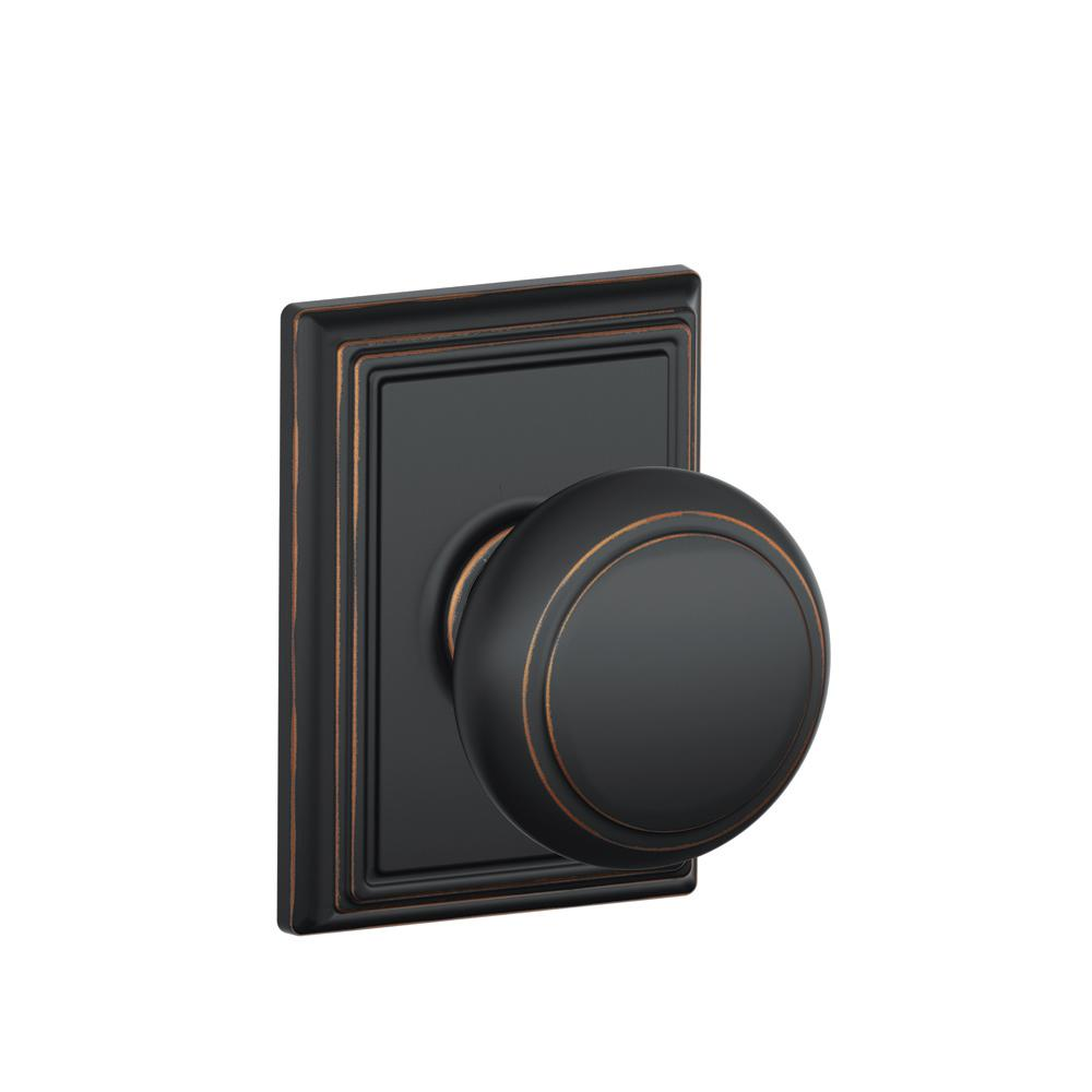 Andover Aged Bronze Hall and Closet Knob with Addison Trim