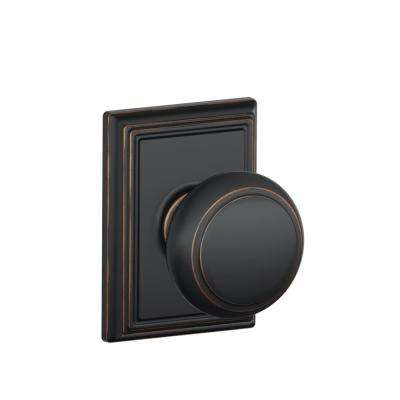 Andover Aged Bronze Passage Hall/Closet Door Knob with Addison Trim