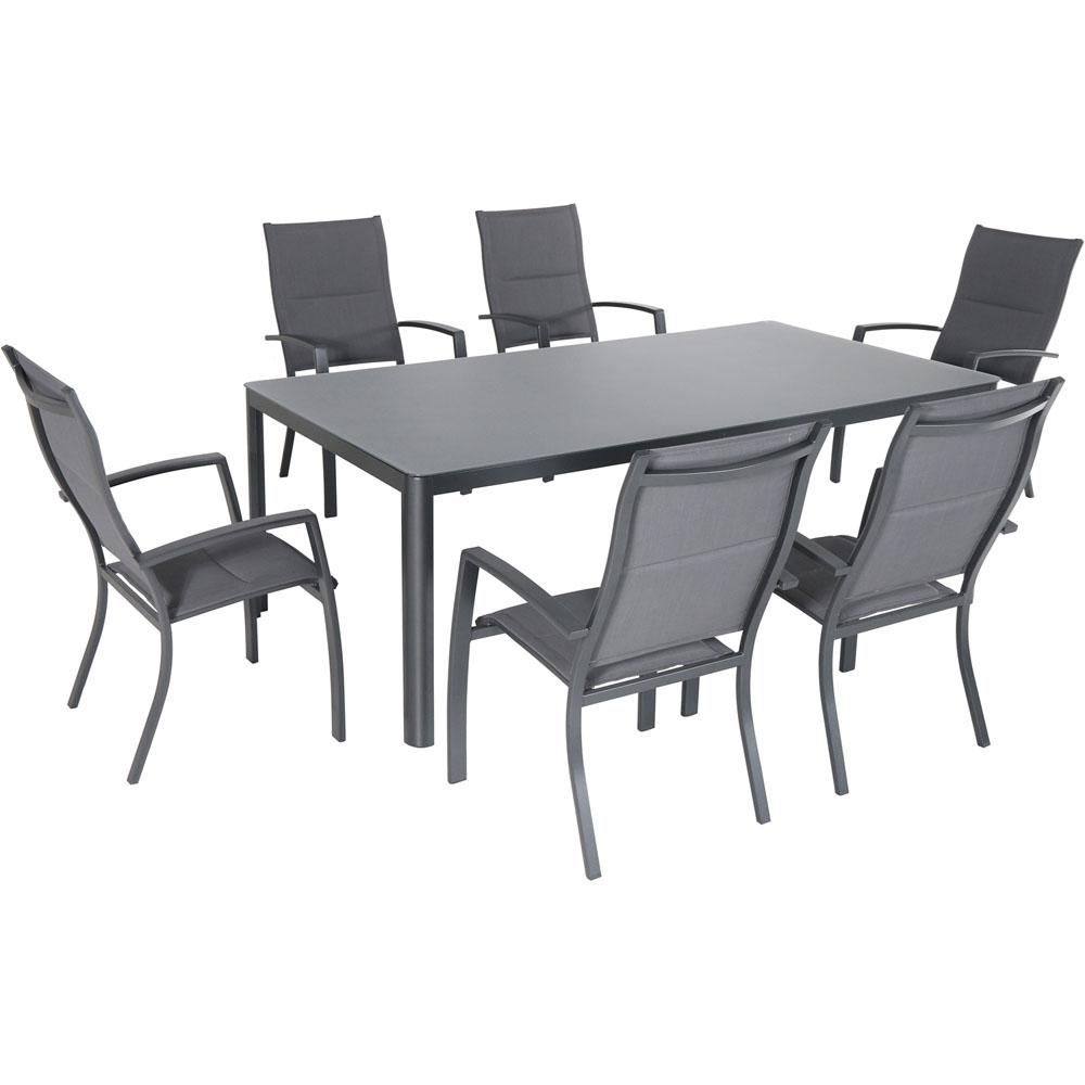 . Hanover Fresno 7 Piece Aluminum Outdoor Dining Set with 6 Padded Sling  Chairs and a 42 in  x 83 in  Glass Top Table
