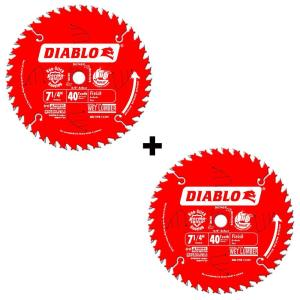 2 Pack Diablo 7-1/4 in. x 40-Tooth Finish Saw Blade