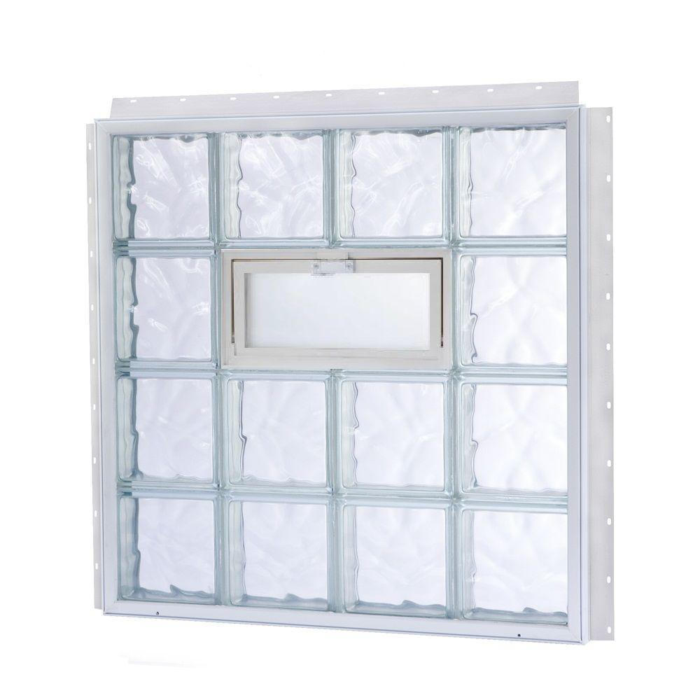 TAFCO WINDOWS NailUp 56 in. x 8 in. x 3-3/4 in. Vented Wave Pattern Glass Block New Construction Window with Vinyl Frame-DISCONTINUED