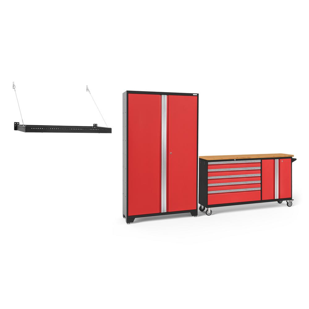 NewAge Products Bold Series 104 in. W x 77.25 in. H x 18 in. D 24-Gauge Welded Steel Garage Cabinet Set in Red (2-Piece)