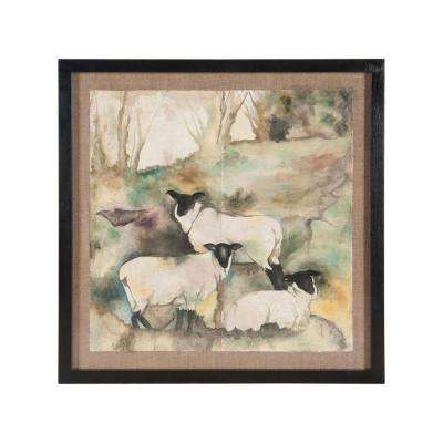 "39 in. x 39 in. ""Suffolks"" Framed Hand Painted Aged Paper Wall Art"