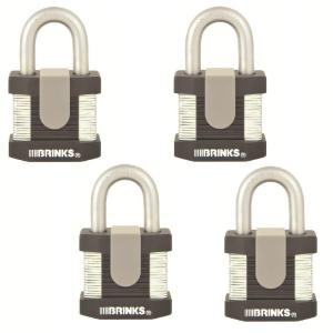 Brinks Home Security Commercial 2 inch Laminated Steel Keyed Padlock (4-Pack) by Brinks Home Security