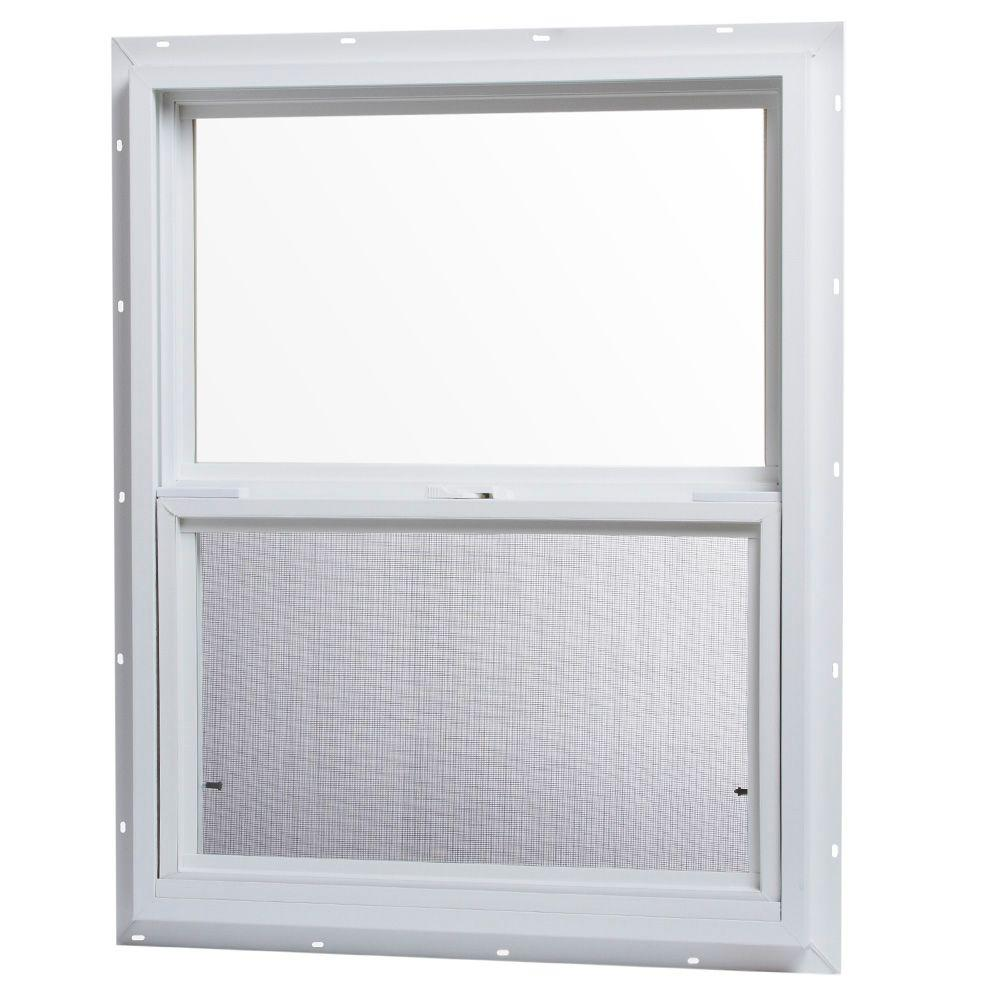 24 x 30 in single hung window vinyl frame insect screen j channel glass slider 752494004193 ebay. Black Bedroom Furniture Sets. Home Design Ideas