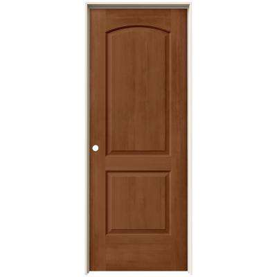 24 in. x 80 in. Continental Hazelnut Stain Right-Hand Solid Core Molded Composite MDF Single Prehung Interior Door