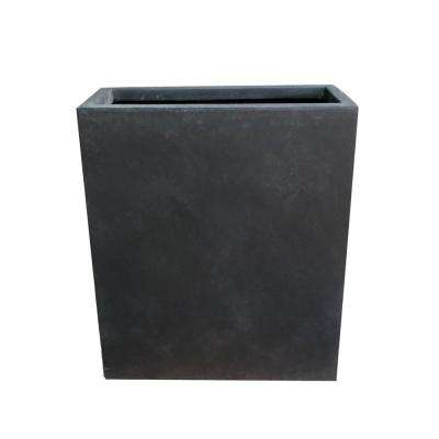26.8 in. Tall Charcoal Lightweight Concrete Modern Long and High Rectangle Planter