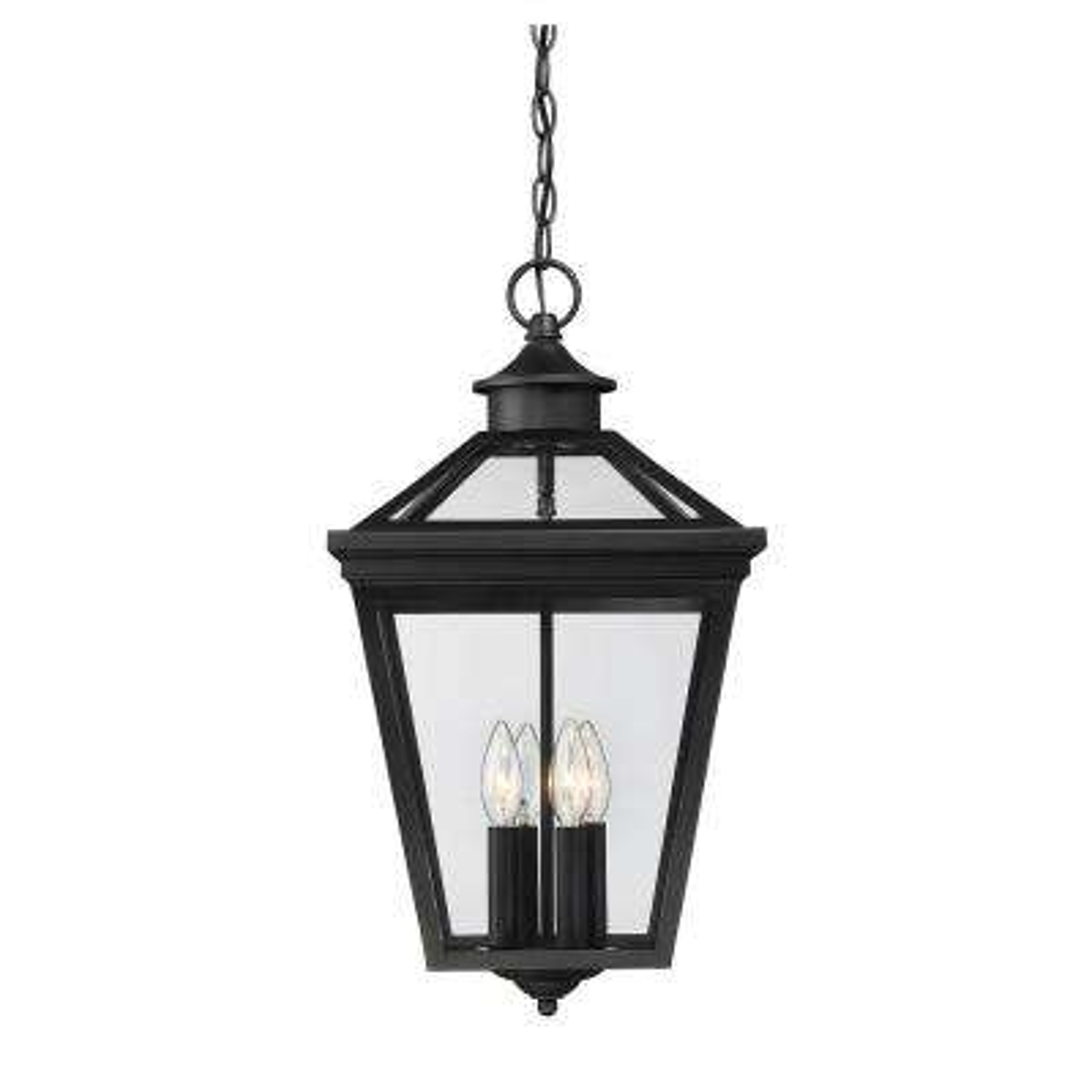 4-Light Black Outdoor Hanging Lantern