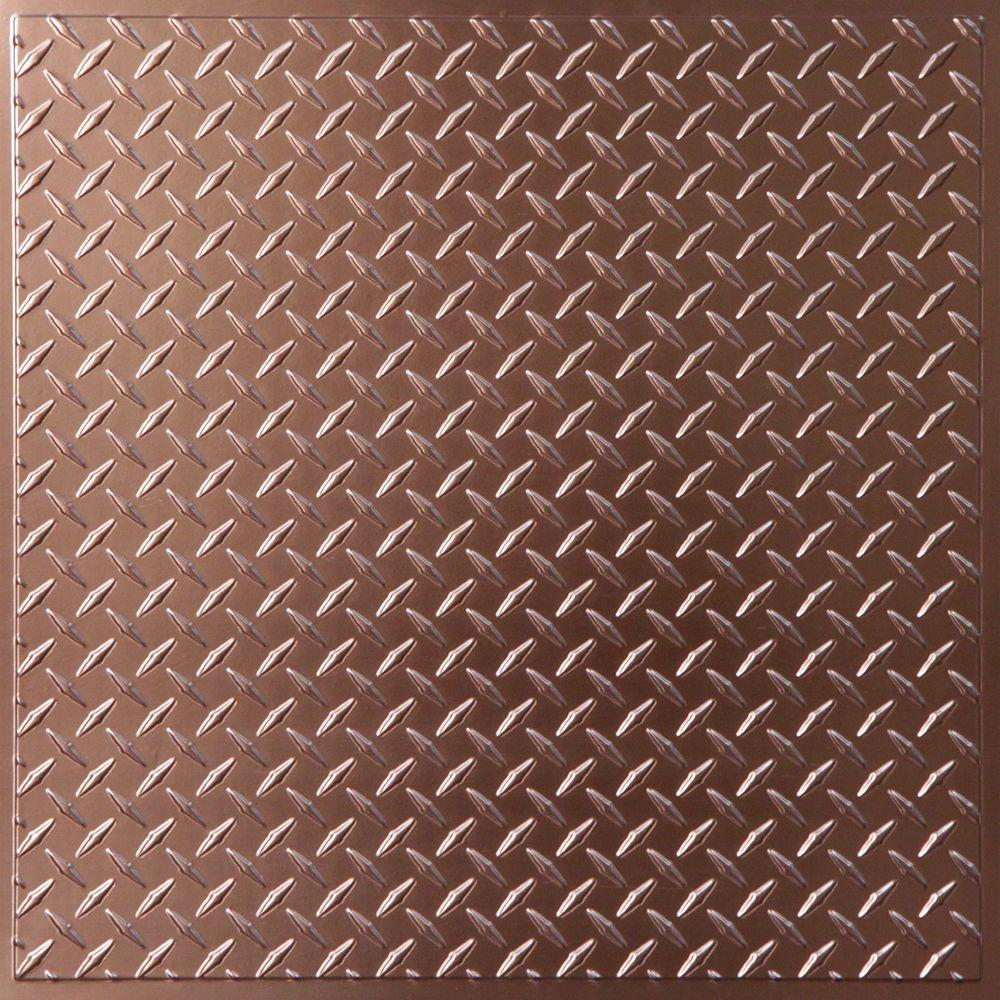 Ceilume Diamond Plate Faux Copper 2 ft. x 2 ft. Lay-in or Glue-up Ceiling Panel (Case of 6)