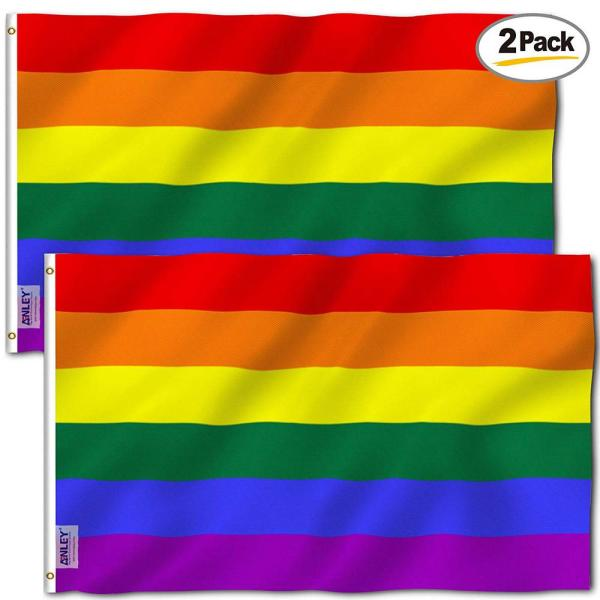 Anley Fly Breeze 3 Ft X 5 Ft Polyester Rainbow Flag 6 Stripes 2 Sided Flags Banner With Brass Grommets 2 Pack A Flag Rainbow 2pc The Home Depot