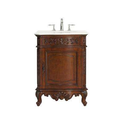 Winslow 26 in. W x 22 in. D Vanity in Antique Cherry with Marble Vanity Top in White with White Basin
