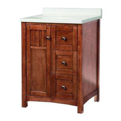 Knoxville 25 in. W x 22 in. D Vanity in Nutmeg with Vanity Top in White