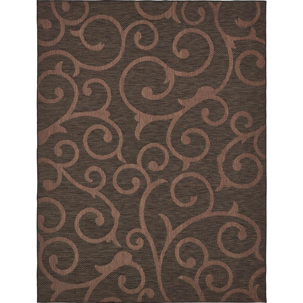 Unique loom outdoor chocolate brown 9 ft x 12 ft area rug 3135667 the home depot for Chocolate brown bathroom rugs