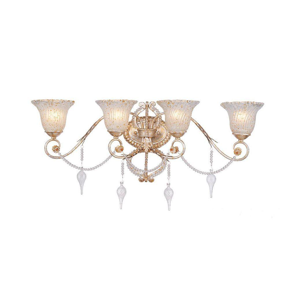 Hampton Bay Allure 4-Light Antique Silver Wall Sconce-DISCONTINUED