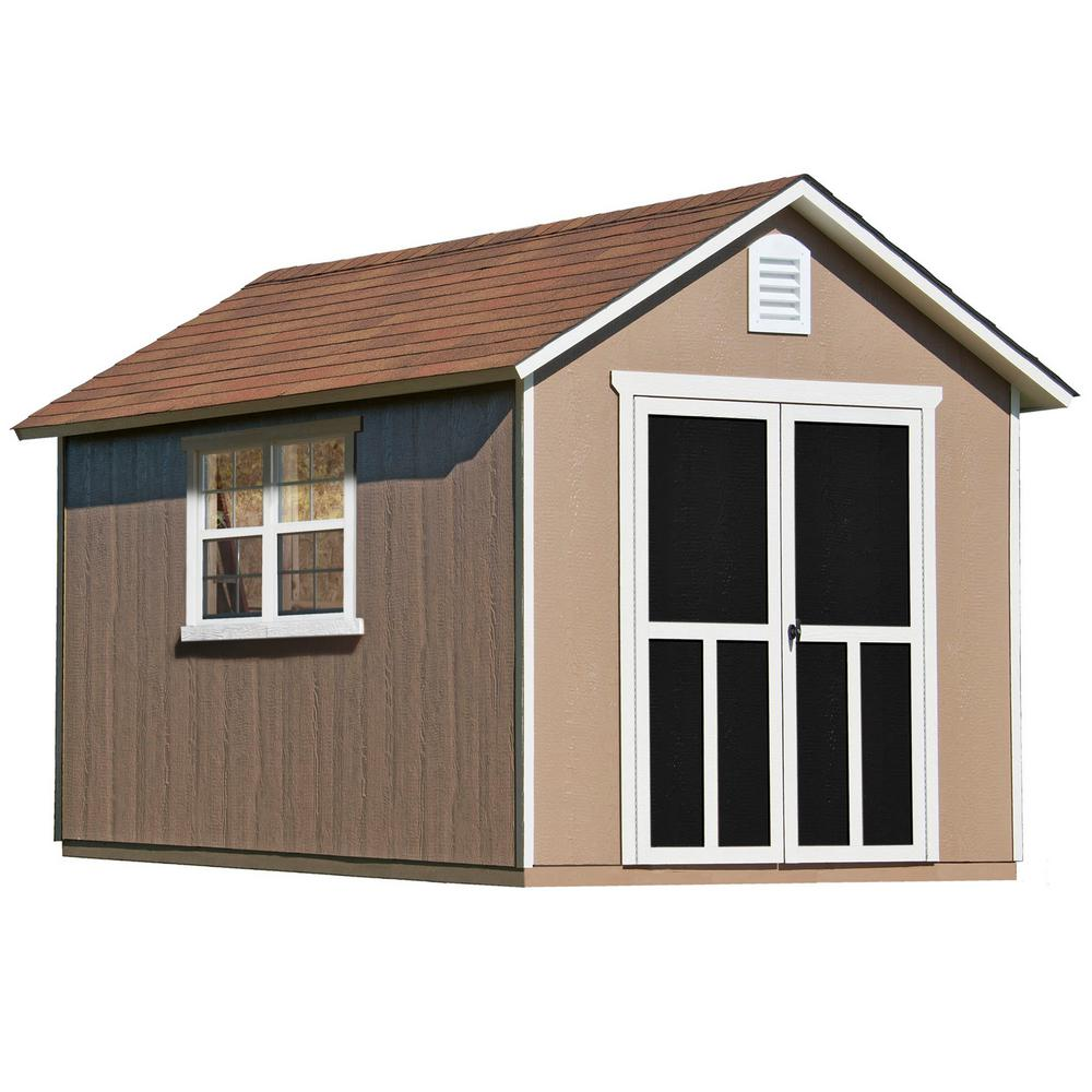 Handy Home Products Installed Meridian Deluxe 8 ft. x 12 ft. Wood Storage Shed with Upgrades and Autumn Brown Shingles