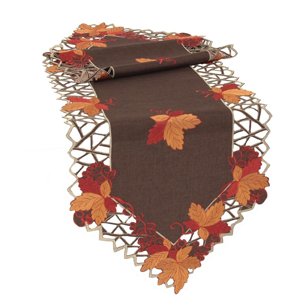 Xia Home Fashions 0.1 in. H x 15 in. W x 72 in. D Harvest Hues Embroidered Cutwork Fall Table Runner