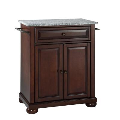 Alexandria Gray Portable Kitchen Island with Granite Top