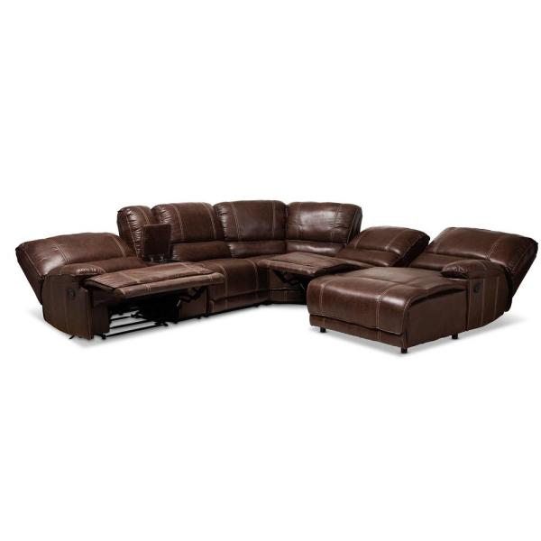Baxton Studio Salomo Brown Faux Leather Sectional 150-9118-HD