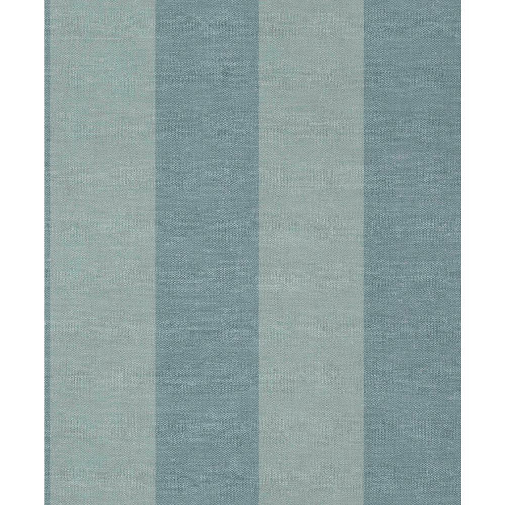 Blue Large Linen Stripes Wallpaper