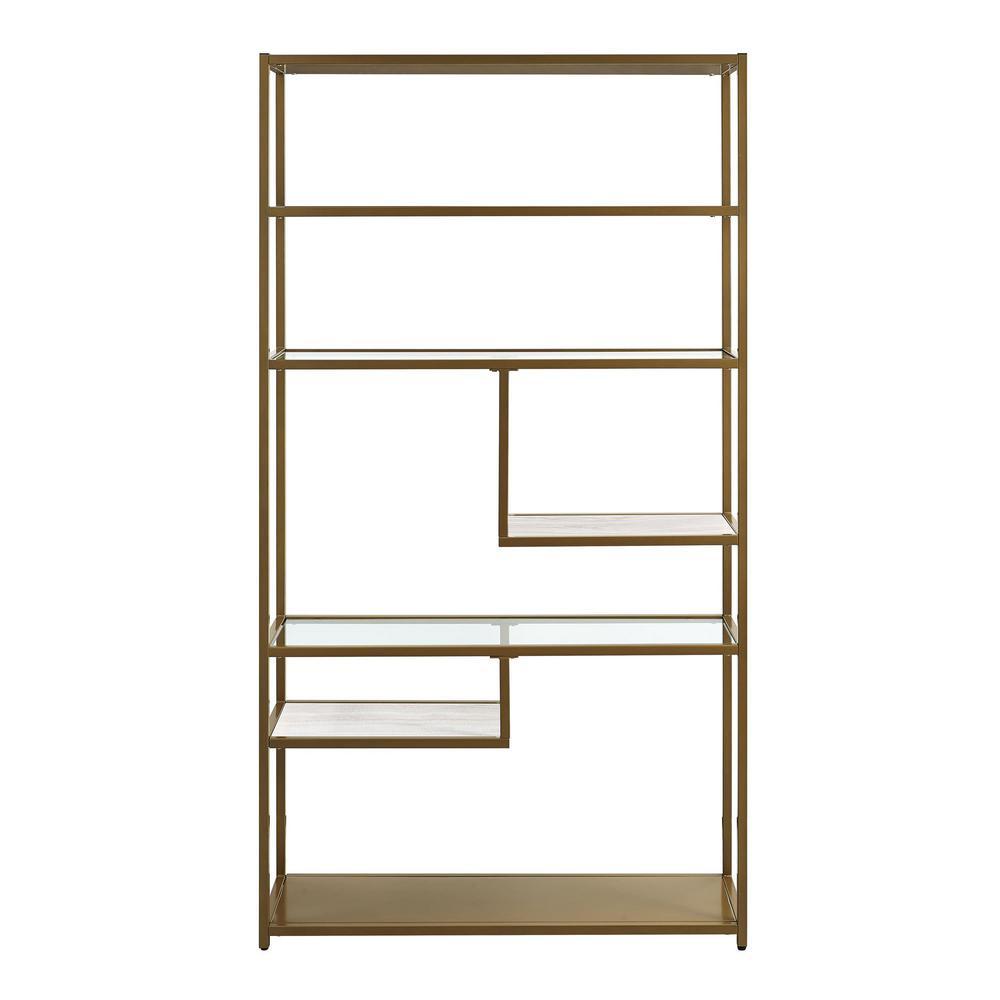 Terra Brass Geometric Bookcase Etagere