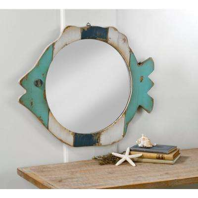Wooden Rustic Fish Frame Mirror