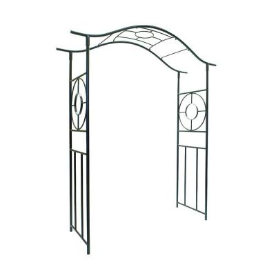 Elegant Handcrafted Tuscany Garden Arbor, 84 in. Tall Graphite Powder Coated Finish