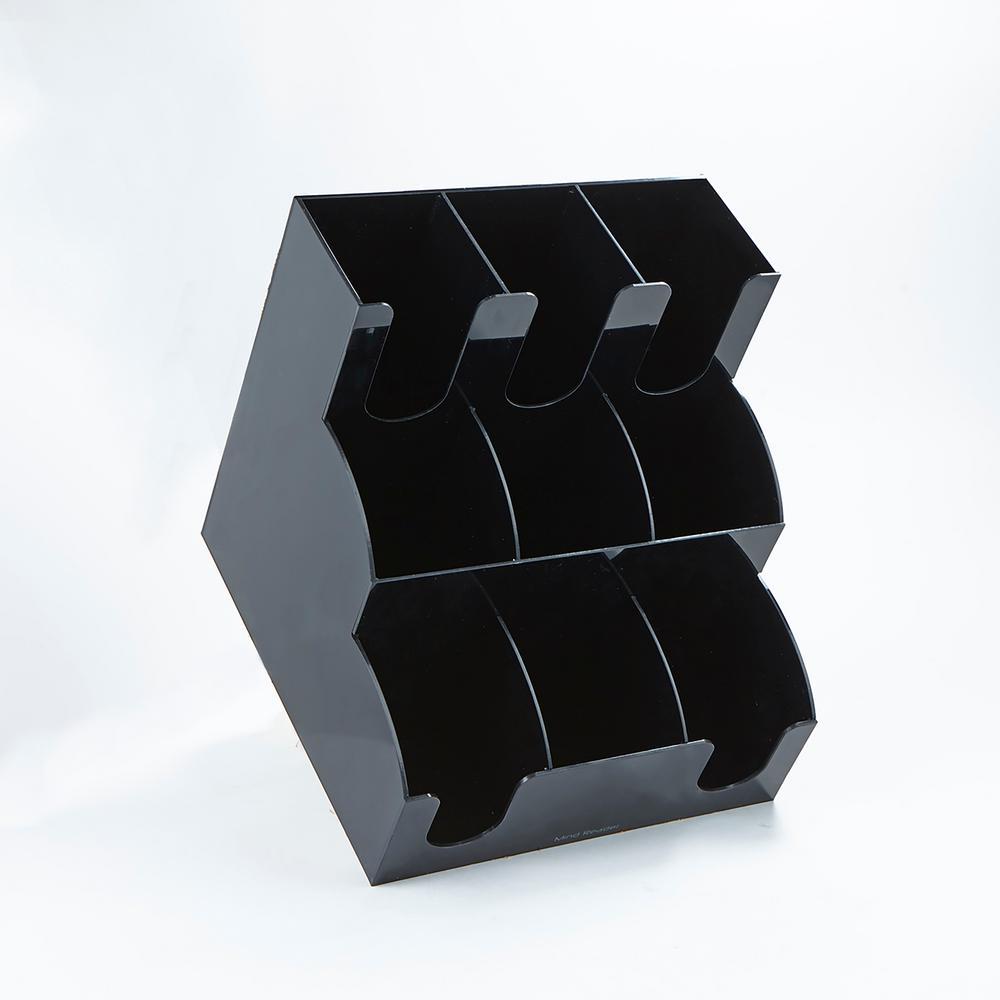 9-Compartment Black Acrylic Condiment Organizer