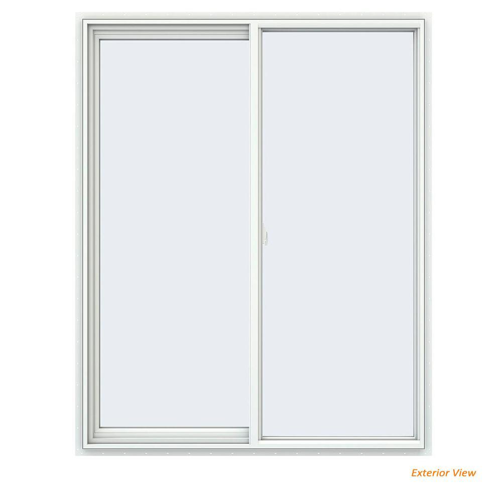 47.5 in. x 59.5 in. V-2500 Series White Vinyl Left-Handed Sliding