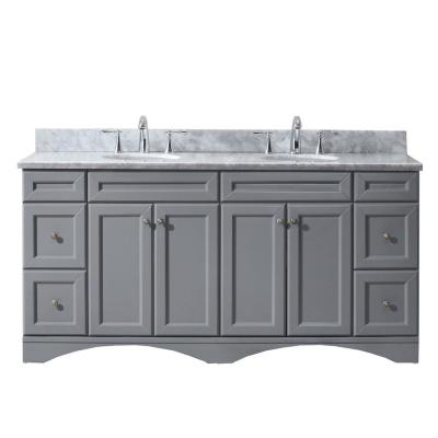 Talisa 72 in. W Bath Vanity in Gray with Marble Vanity Top in White with Round Basin