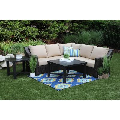 Birch 5-Piece Resin Wicker Outdoor Sectional with Sunbrella Canvas Heather Beige Cushions
