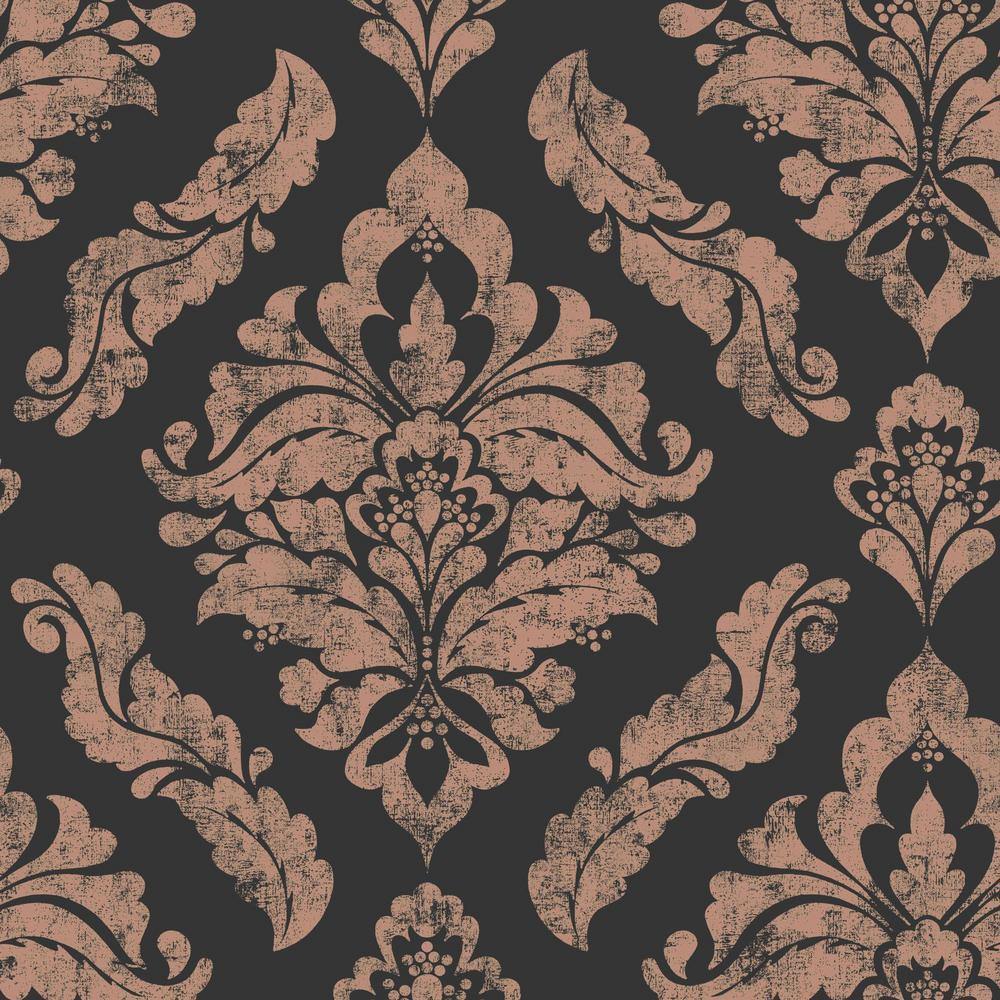 Graham & Brown Damaris Black and Rose Gold Removable Wallpaper Sample