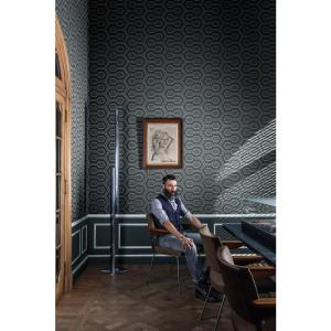 Geometric Beaded Grey Blue and Metallic Silver Wallpaper by