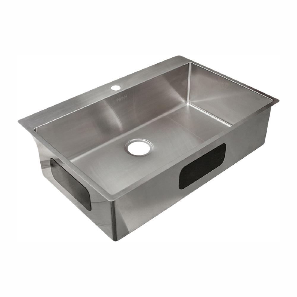 Franke. Vector 9 In. Deep Dual Mount Stainless Steel 33.5 In. 1 Hole Single  Bowl Kitchen Sink In Satin Stainless Steel