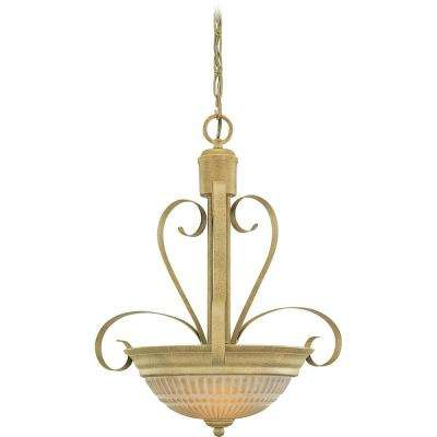 Florentia 2-Light Interior/Indoor Golden Coral Hanging Pendant with Scavo Glass Bowl