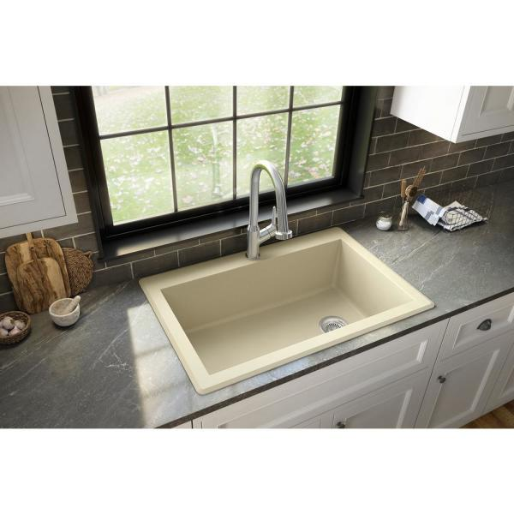 Drop-In Quartz Composite 33 in. 1-Hole Single Bowl Kitchen Sink in Bisque