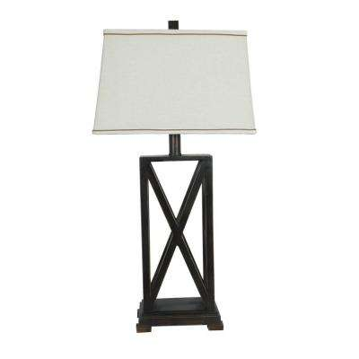 32.5 in. Rich Bronze Metal Criss Cross Table Lamp