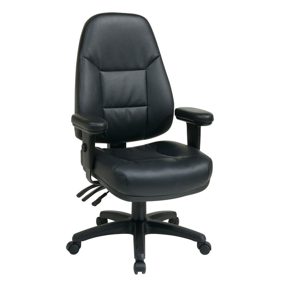 Work Smart Black Leather High Back Office Chair  sc 1 st  Home Depot & Work Smart Black Leather High Back Office Chair-EC4300-EC3 - The ...