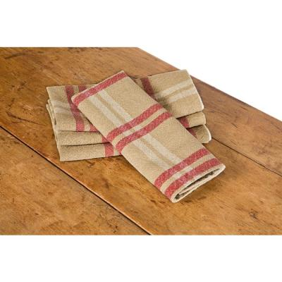 Linen Check 14 in. x 22 in. Natural Tea Towels (Set of 4)