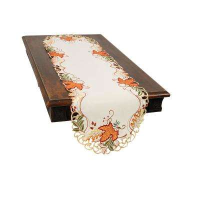 0.1 in. H x 15 in. W x 70 in. D Falling Leaves Embroidered Cutwork Table Runner