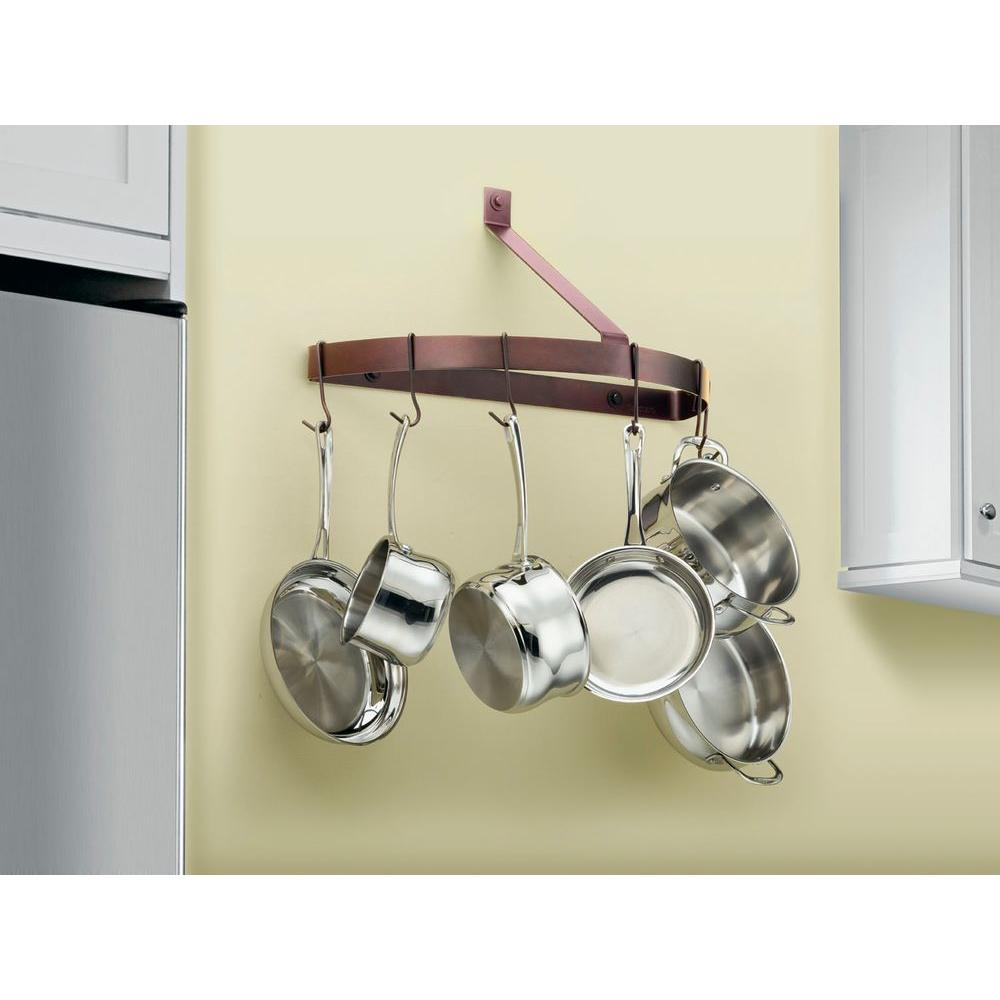 Cookware pot pan rack half circle wall mount hanging hanger stainless steel home