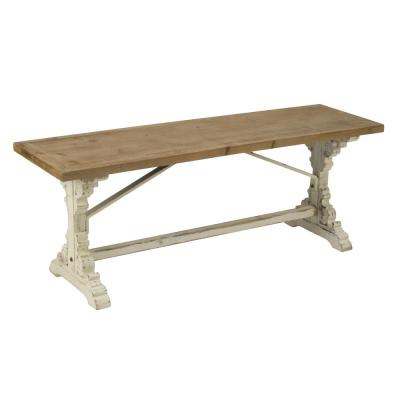 19 in. H x 51 in. W x 15 in. D Natural Wood Antiqued Cream French Farmhouse Bench