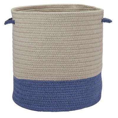 Sunbrella Caroline Round Indoor/Outdoor Basket Cornflower 15 in. x 15 in. x 16 in.